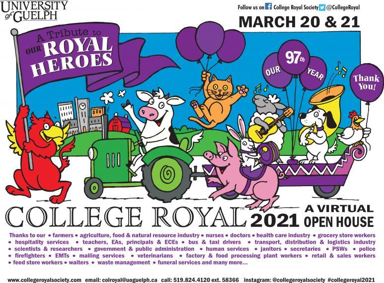 "Promotional banner for College Royal event with flag ""Royal Heroes"""