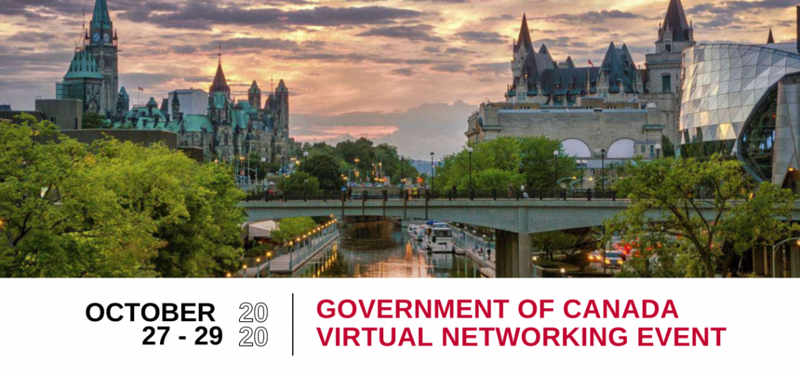 Virtual networking event promotional image with dates and event title
