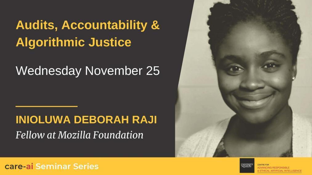 Promotional image for Deborah Raji talk