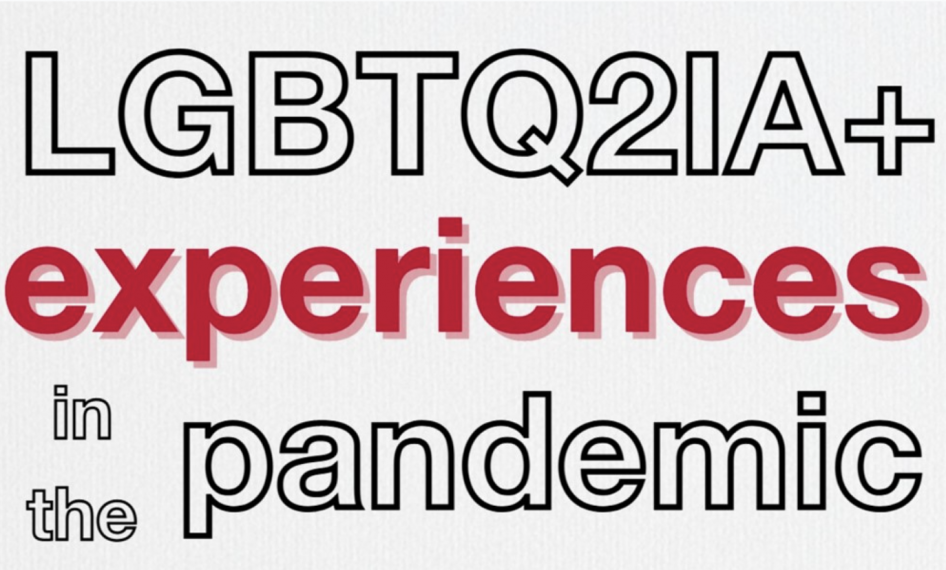 Promotional image with text: LGBTQ2IA+ experiences in the pandemic