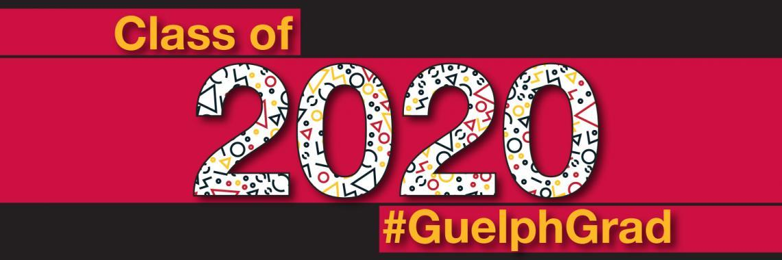 "Convocation header that has red and black blocks and says ""Class of 2020 #GuelphGrad"""