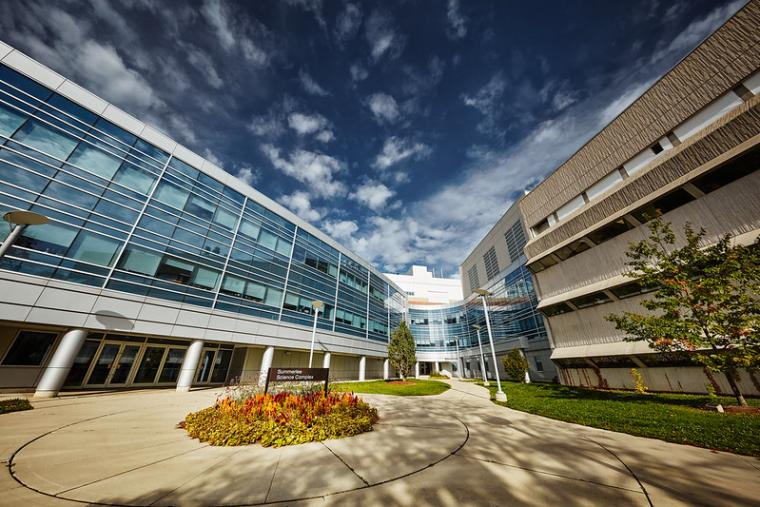 Artistic, slightly distorted image of Summerlee Science Complex at the University of Guelph