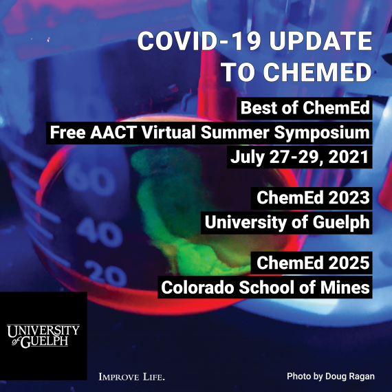 ChemEd promotional banner with dates for summer event