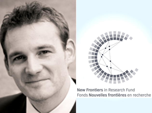 Portrait of Dennis Muecher and the New Frontiers in Research Fund logo