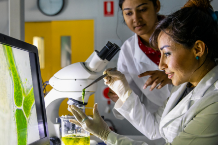 Two women looking at microscope and wearing lab gear