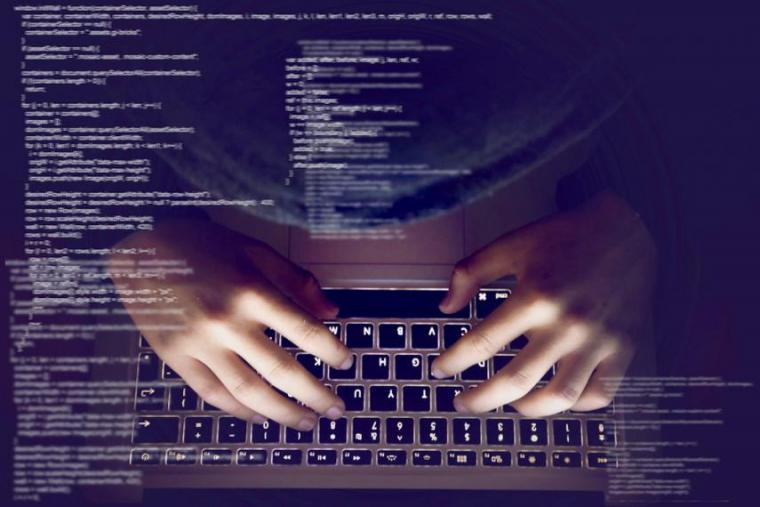 Composite image of person typing on keyboard with miscellaneous data overlaying image