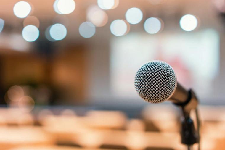 Image of microphone with blurred background