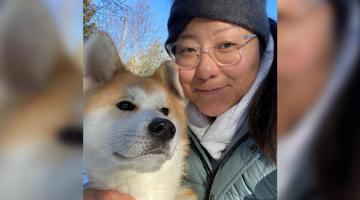 Image of Dr. Leanne Chen and her dog.