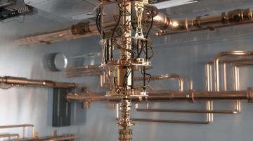 Photograph of a quantum computer in a laboratory.