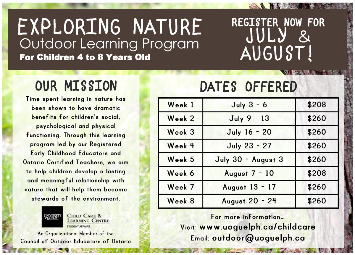 www.uoguelph.ca/childcare Email: outdoor@uoguelph.ca
