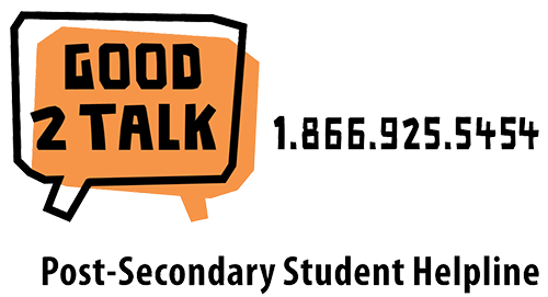 Good 2 Talk 1.866.925.5454 Post-Secondary Student Helpline