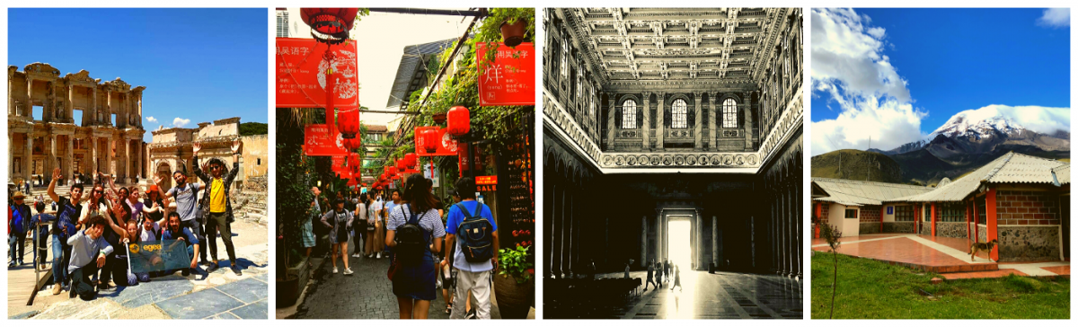 4 pictures comparing architecture in Italy, China, France, Ecuador