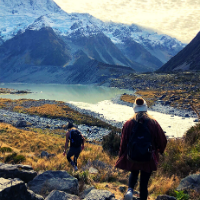 Two students hiking through the mountains in New Zealand