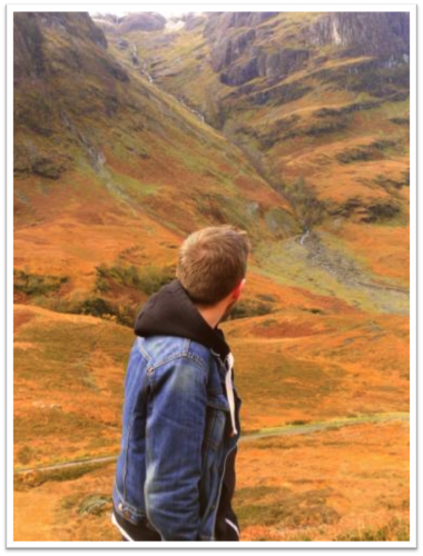 Photo of a student in the Scottish Highlands