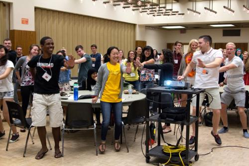 Image of students dancing at orientation