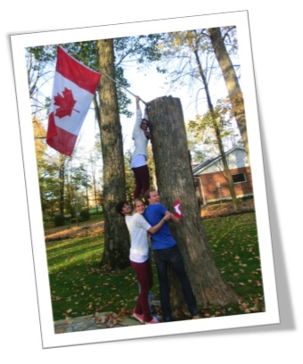 Image of students with Canadian Flag