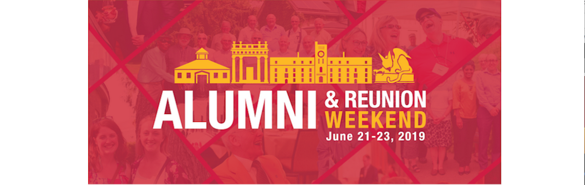 "Graphic of caption: ""Alumni Weekend"""