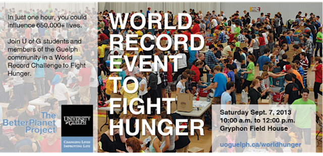 World Record Event To Fight Hunger: Saturday September 7, 2013, 10am-12pm, Gryphon Field House