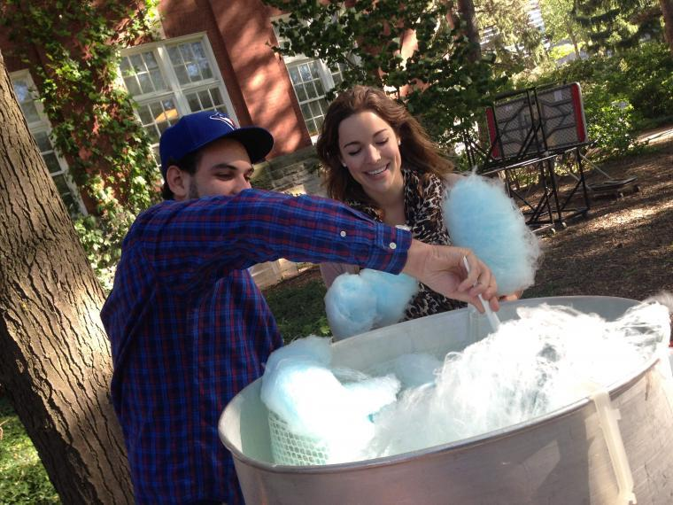 Serving up cotton candy at the Annual BBQ