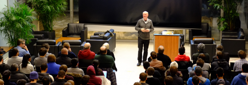 Tim Bray Speaking to a Group of Students