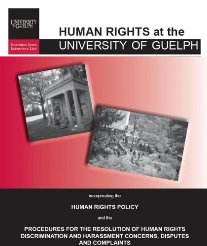 Image of the Univ of Guelph Human Rights Policy Pamphlet