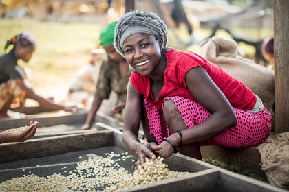 Image of smiling woman farming coffee beans