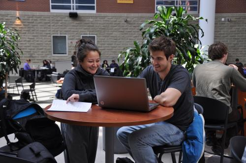 Students studying in the Summerlee Science Complex