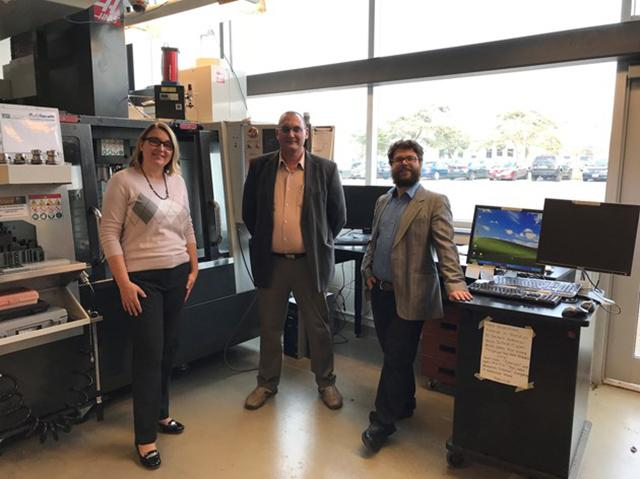 Accelerator Guelph associate director Dana McCauley and researchers Ibrahim Deiab and John Cloutier. Photo courtesy of Dana McCauley