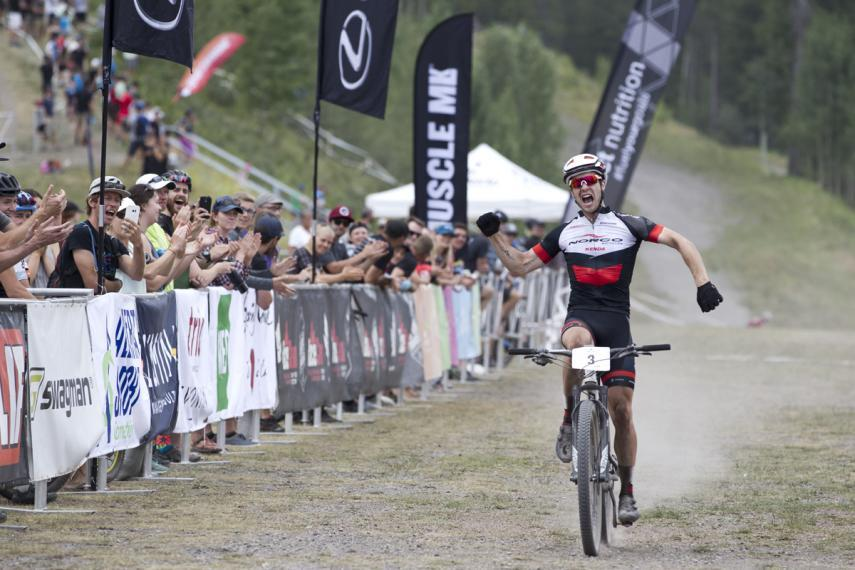 Peter Disera celebrates his first elite XCO national championship in Canmore, Alta. 20017. Photo: John Gibson