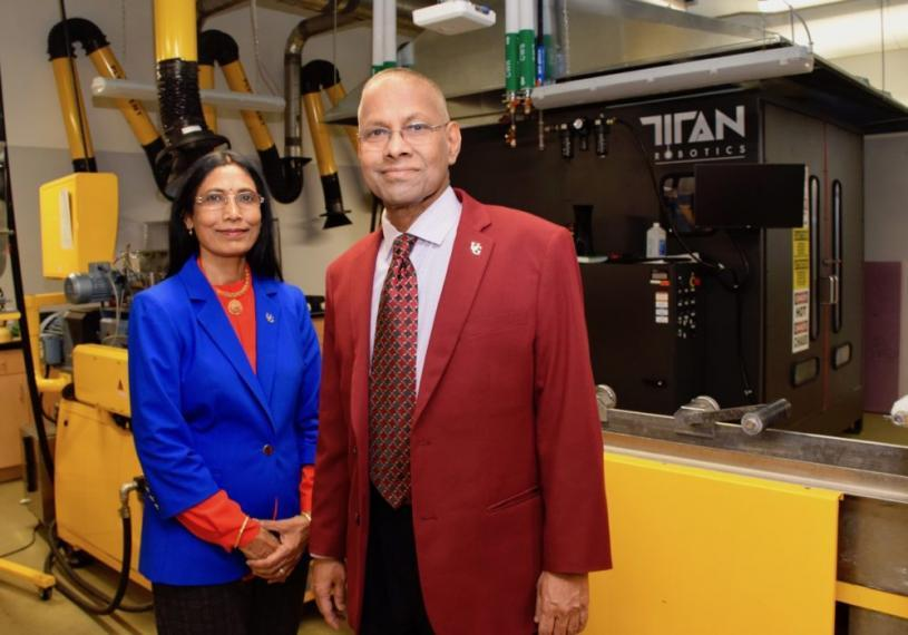 Award-winning researchers Prof. Manjusri Misra and Prof. Amar Mohanty in the Bioproducts Discovery and Development Centre.