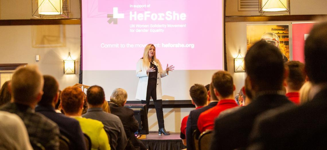 Speaker at HeForShe Event, FedEx Canada president and best-selling author Lisa Lisson on campus to speak with U of G students and lead a public talk open to the community.