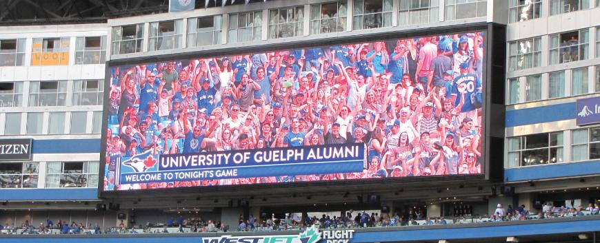 University of Guelph Alumni on Jumbotron at Blue Jays Game