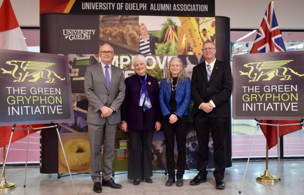 Don O'Leary, vice-president (finance, administration and risk); Liz Sandals, MPP for Guelph; Andrea Bradford, engineering professor; Steve Nyman, director of maintenance and energy services, Physical Resources