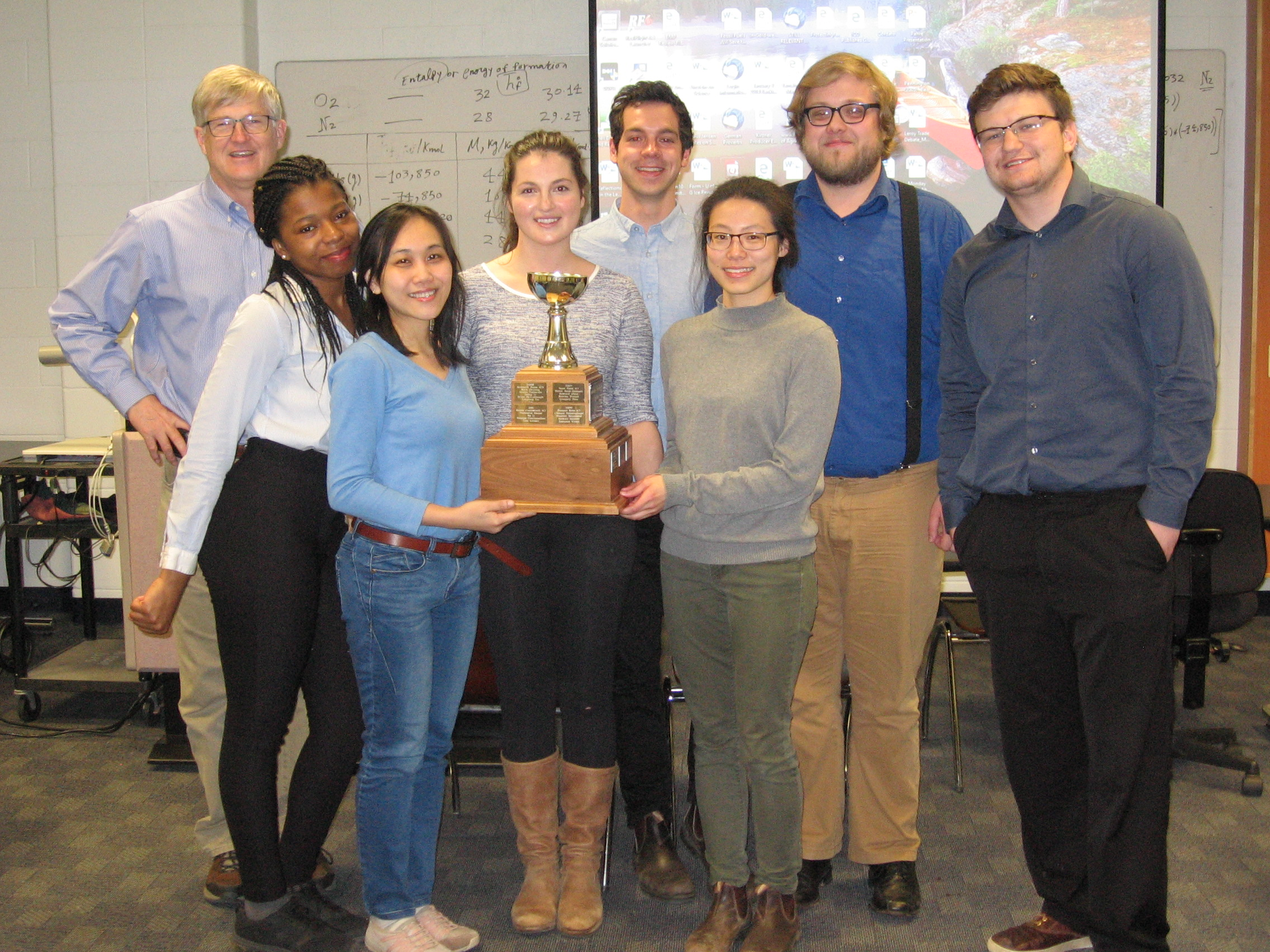 Group photo of Dr. G. Fox and the 7 students on the Opposed team.