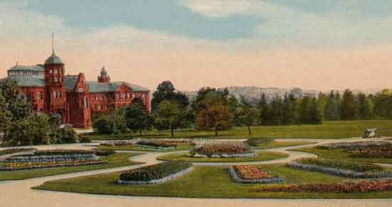 Watercolour of Johnson Green, U of G  (J.D. MacLachlan Bldg, back left U of G) mid 50's