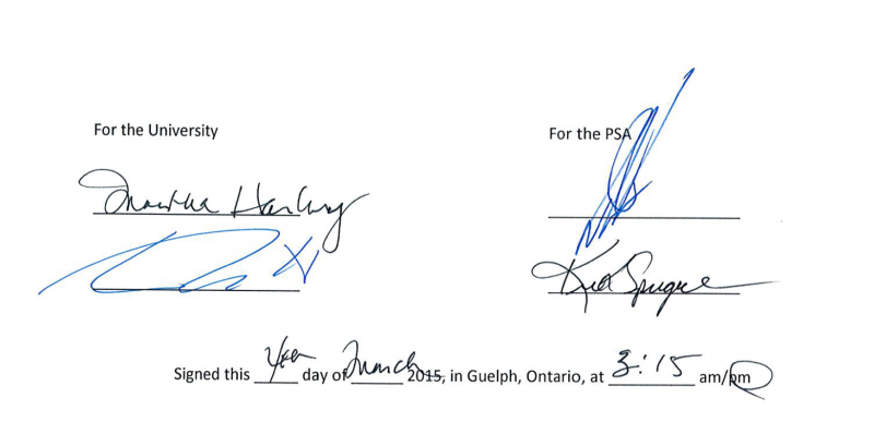 Signatures of signing authorities for the University of Guelph and the Professional Staff Association. Signed on March 4, 2015 in Guelph, Ontario at 3:15pm