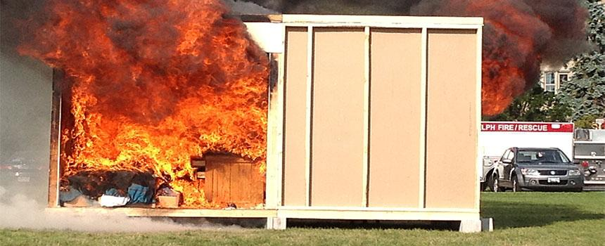 Dorm Room on Fire during annual room burn demonstration