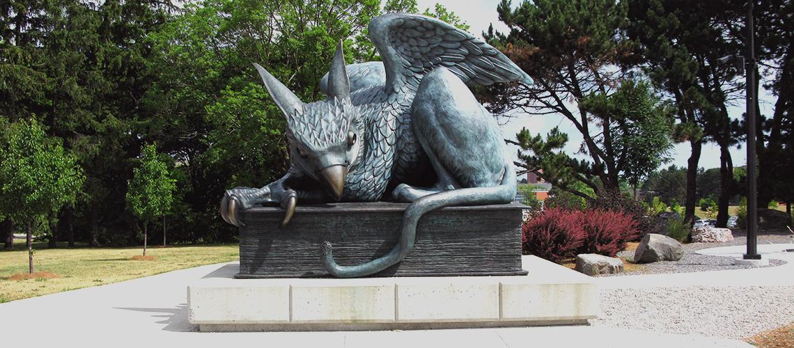 Gryphon statue located at the corner of Stone Rd and Gordon St