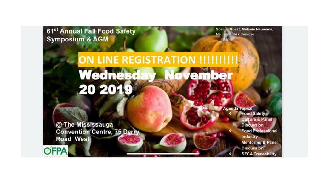 November 20, 2019 OFPA Food Safety Symposium