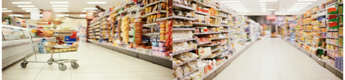 Food Safety Resources Image of Grocery Aisle and Grocery Cart full of food products