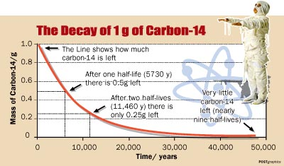 Carbon dating exponential decay formula algebra 7