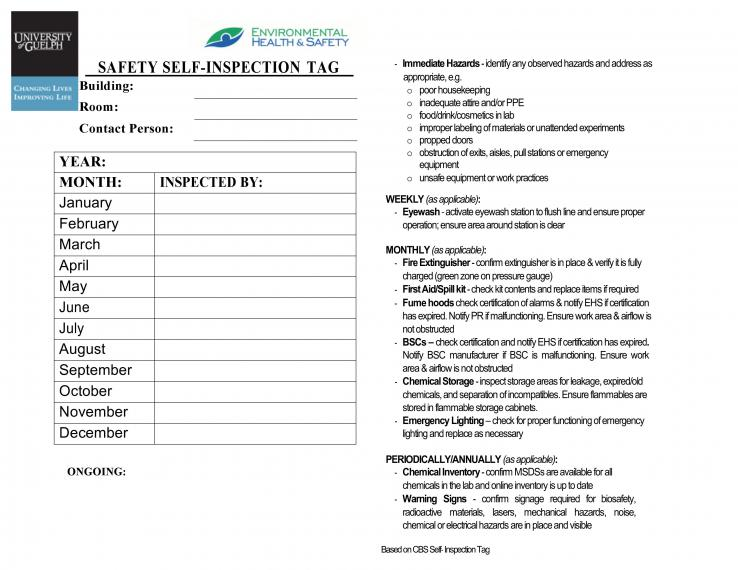 An image of the Monthly Lab Inspection Checklist