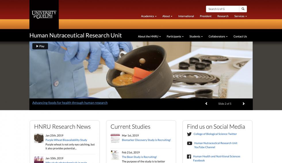 A screenshot of the new HNRU website