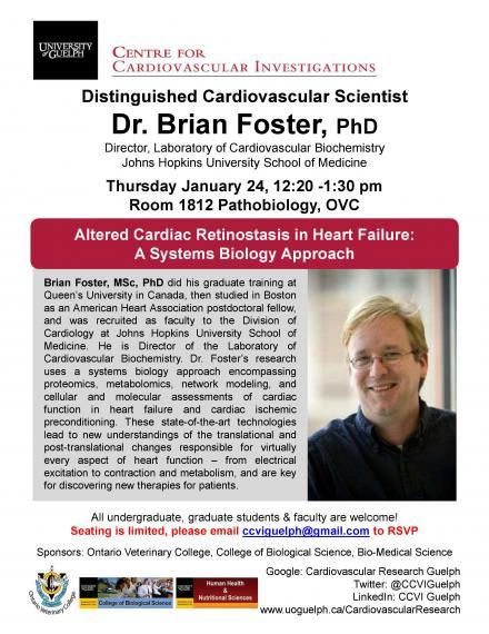 """Poster: """"CENTRE FOR CARDIOVASCULAR INVESTIGATIONS  Distinguished Cardiovascular Scientist Dr. Brian Foster, PhD Director, Laboratory of Cardiovascular Biochemistry Johns Hopkins University School of Medicine  Thursday January 24, 12:20 -1:30 pm Room 1812 Pathobiology, OVC  Brian Foster, MSc, PhD did his graduate training at Queen's University in Canada, then studied in Boston as an American Heart Association postdoctoral fellow, and was recruited as faculty to the Division of Cardiology at Johns Hopkins U"""""""