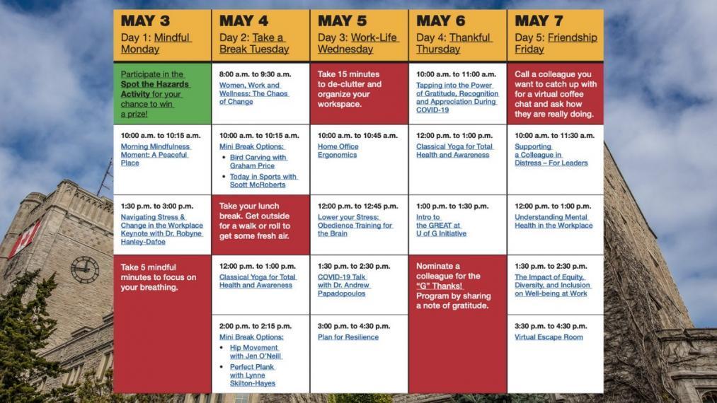 Be Well, Be Safe Week Calendar