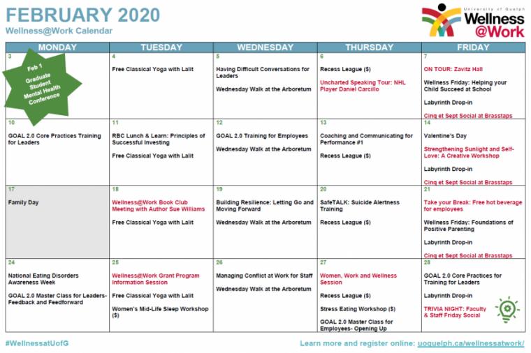February Wellness Activities Calendar Poster