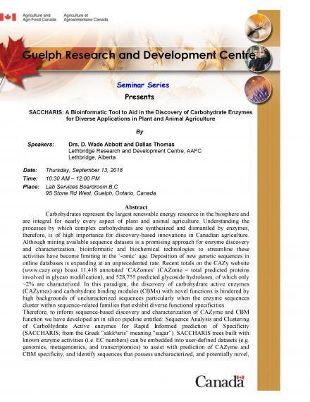 """Poster: """"Guelph Research & Development Centre Seminar Series: Wade Abbott"""""""