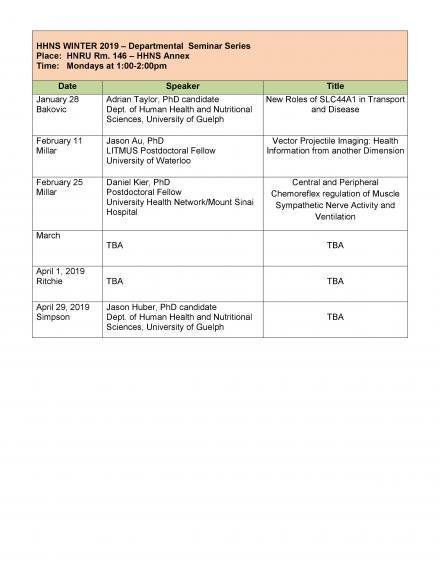 HHNS Seminar Series Schedule Poster