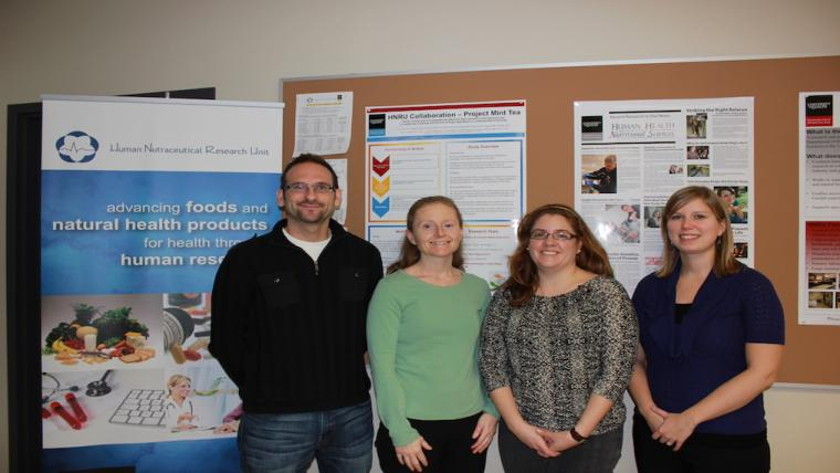 A photograph of the staff of the Human Nutraceutical Research Unit, Dr. David Mutch, Dr. Alison Duncan, Dr. Amanda Wright & Dr. Amy Tucker