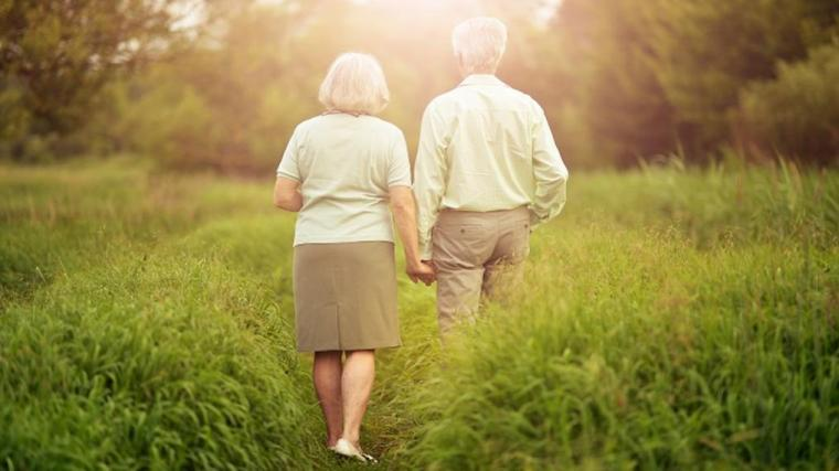 A photograph of an elderly couple walking through long grass towards trees at sunset